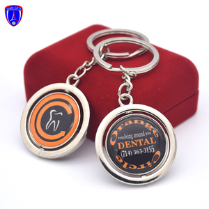 custom metal silver rotate keychain for sublimation in key chains with epoxy sticker keyring