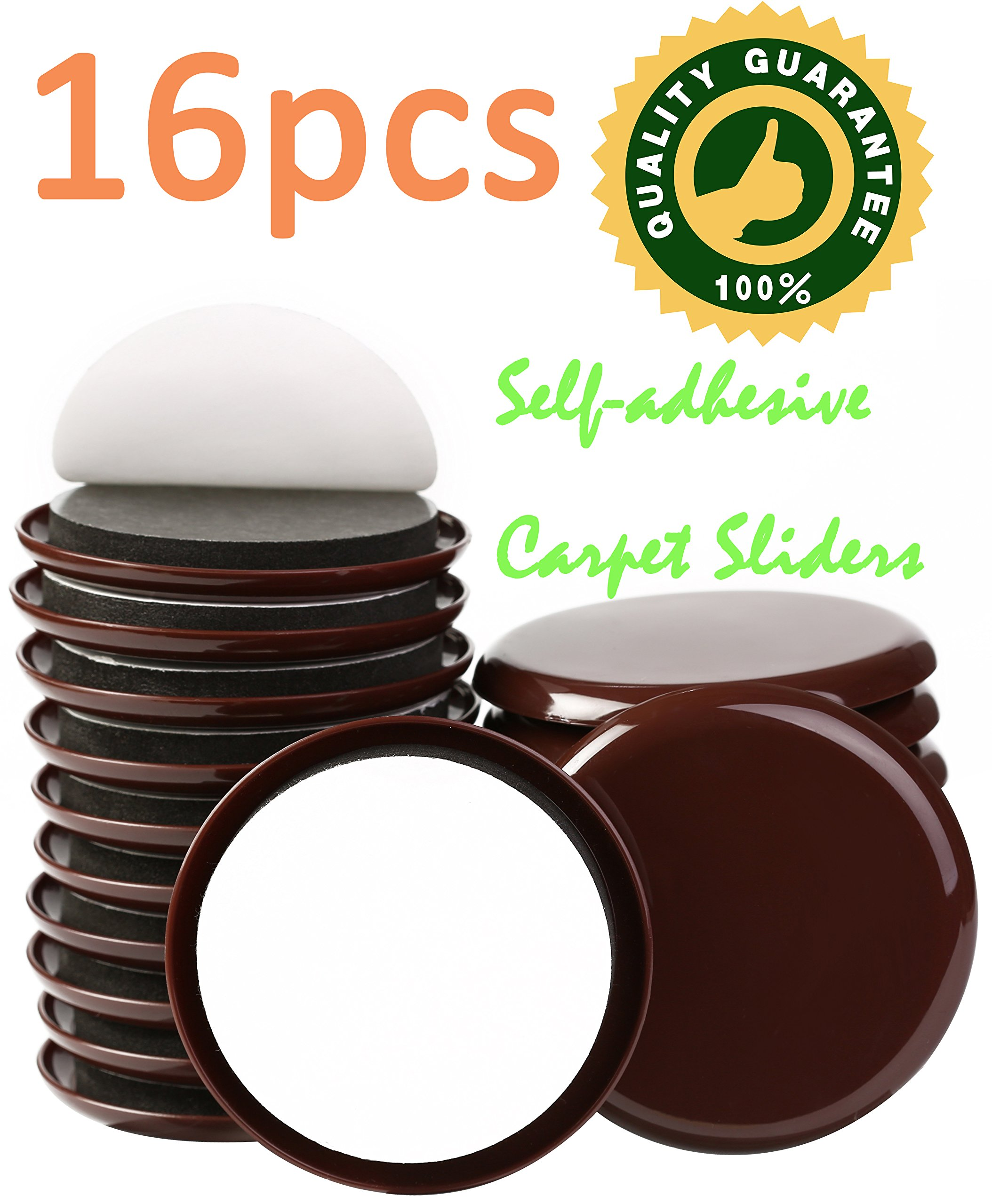 Get Quotations · Liyic 16 PACK 3 1/2 Inch Brown Self Adhesive Furniture  Sliders For