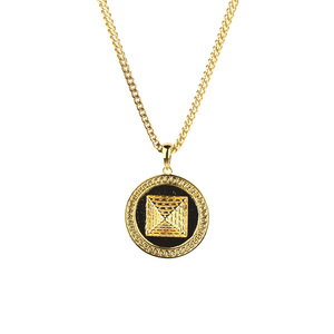 Hip Hop Men Tarnishq 18k Gold Pyramid Pendant Set Designs MJHP202