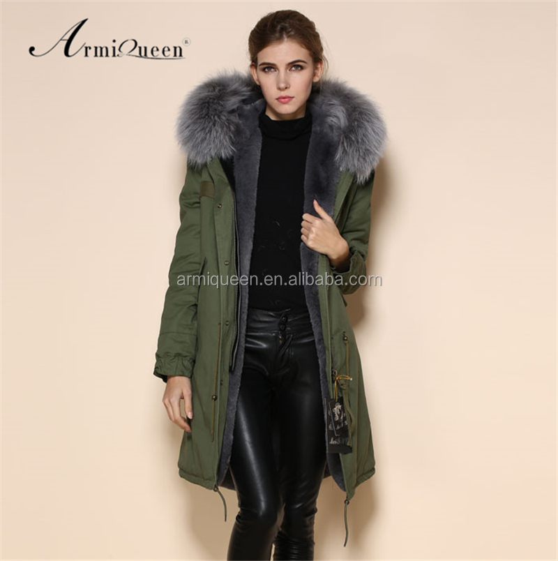2017 OEM Service Military Winter Raccoon Fur Collar Winter Jacket, Mens Womens Grey Faux Fur Long Style Parka Coat, Army green;grey