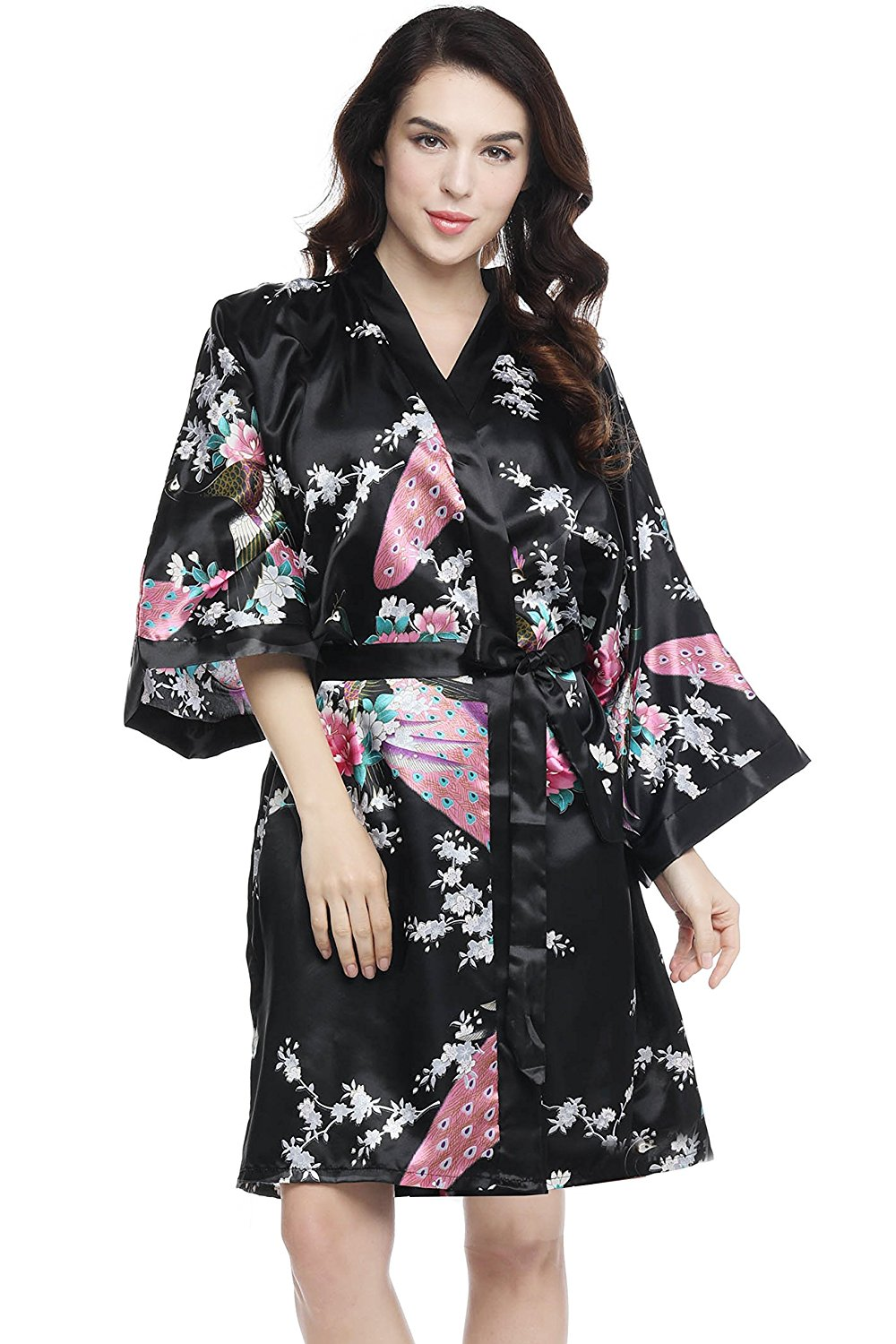 2b1c9cc8c1 Get Quotations · BABEYOND Women s Kimono Robe Short Robes With Peacock and  Blossoms Printed 1920s Style Kimono Nightgown Beach