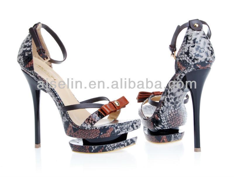 Sandalias de tacon de aguja con alto verano sandalias zapatos de plataforma de piel de serpiente
