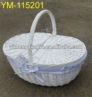 white wicker picnic basket with lining