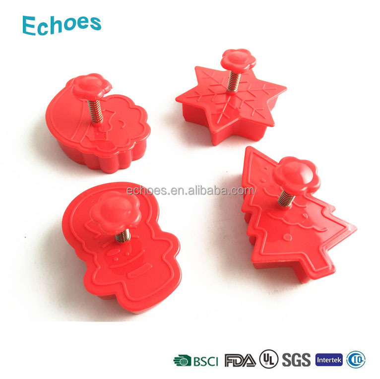 Yangjiang factory 4pcs set plastic cookie cutter spring cookie stamp