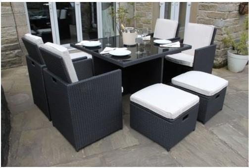 Dining Set Tuin : Ex display black rattan deluxe piece cube set outdoor garden