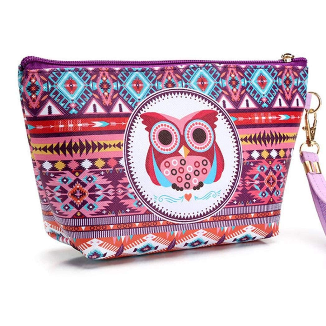 YJYdada Portable Owl Cosmetic Case Pouch Zip Toiletry Organizer Travel Makeup Clutch Bag (D)