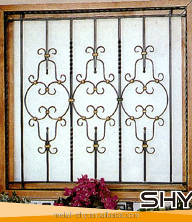 Security wrought iron window guard grille