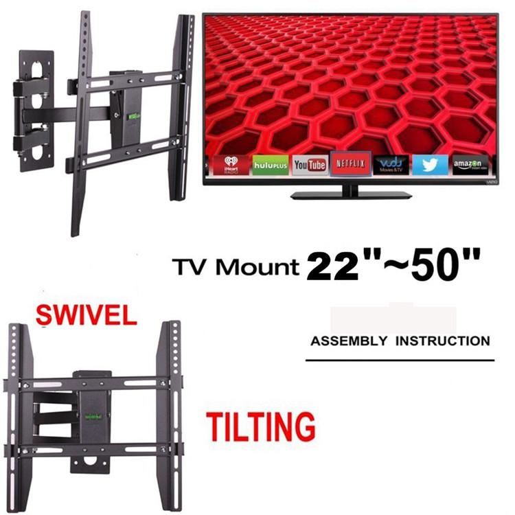 Full Motion TV Wall Mount Swivel Tilt Bracket 32 40 42 47 50 LED LCD Flat Screen