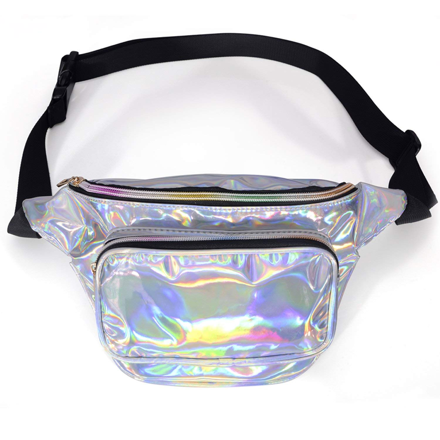 LEADO Cute Neon Fanny Pack Holographic, 80s Metallic Shiny Fanny Packs for Women Kids Fashion, Stylish Waist Bum Bag for Festival, Rave, Travel