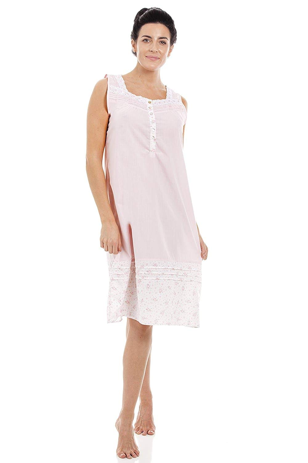 Get Quotations · Camille Womens Light Pink Sleeveless Floral Print  Nightdress 189381c06