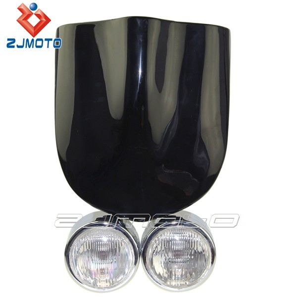 ZJMOTO White Fly Screen for Dominator Twin Headlight Windscreen TRIKE KIT TWIN BLACK DOMINATOR HEADLIGHTS SET HALOGEN Motorcycle