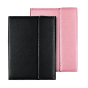 PU leather A4 manager file folder with calculator multifunction portfolio file case custom logo conference file