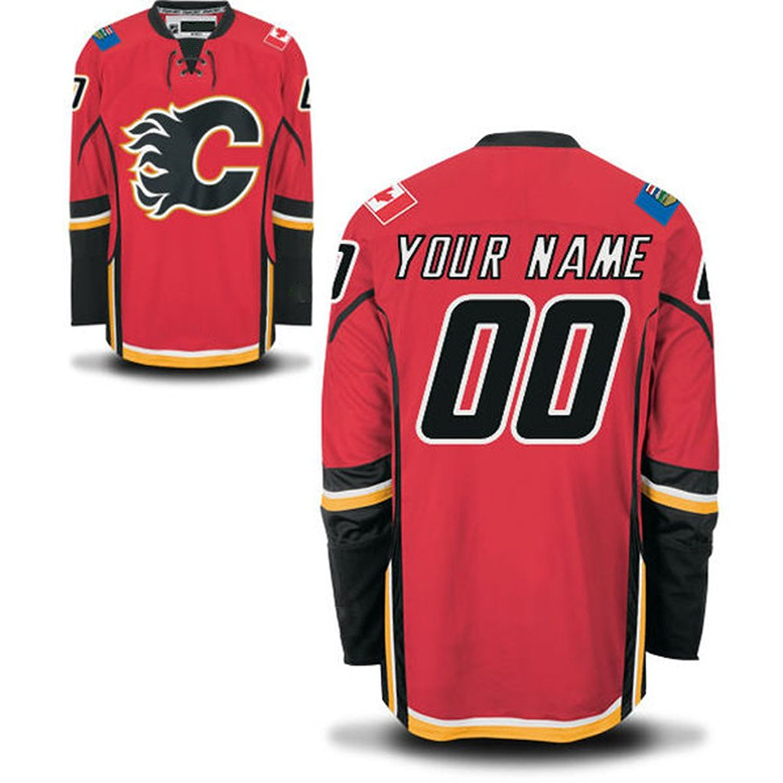 Men's Custom Calgary Flames Red Premier Home Customized Ice Hockey Jersey Size 4XL