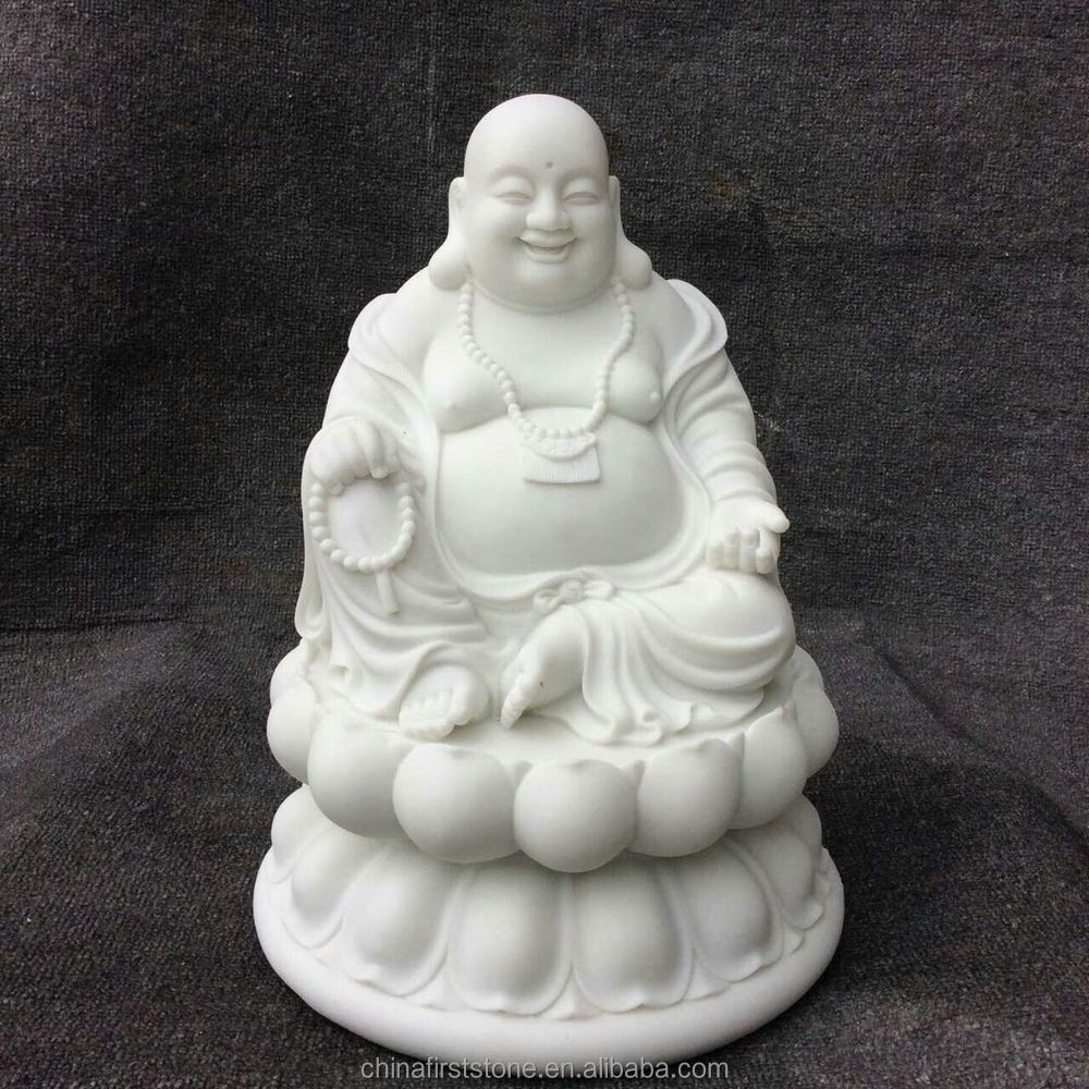 MGP266 White Marble Laughing Buddha Statue For Sale