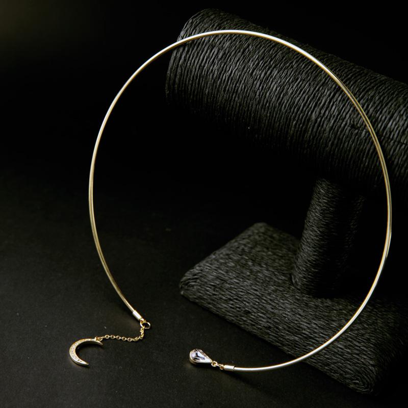 Крутящий момент Оптовая Позолоченные Стимпанк Луна Maxi Колье Ожерелье Индийские Украшения Подарок На День Рождения