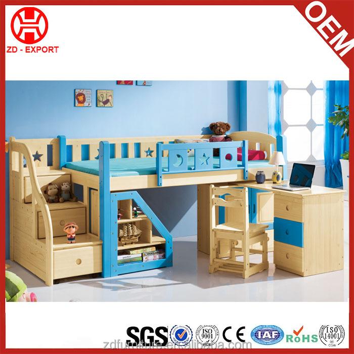 Goede kwaliteit kleurrijke houten kids stapelbed met trappen kinderen bedden product id - Stapelbed met opslag trappen ...