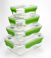 2017 Amazon hot selling two compartments glass food storage container with Tritan BPA FREE locking lid