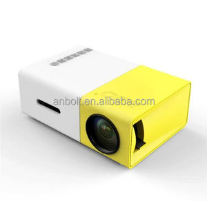 YG-300 LCD Mini 1080P Portable LED Projector Home Cinema Equipment US Plug Yellow & White
