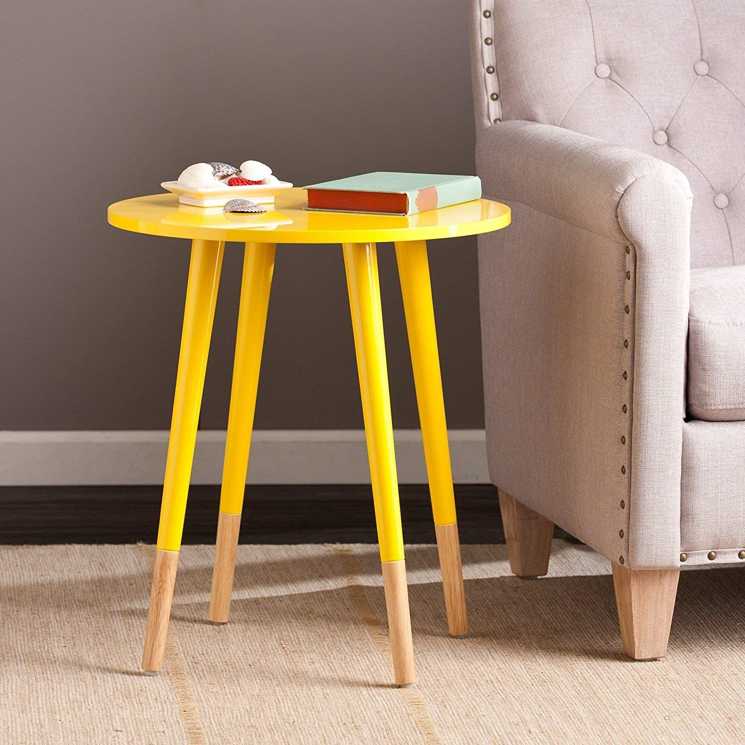 Indoor Multi-Function Accent Table Study Computer Home Office Desk Bedroom Living Room Modern Style End Table Sofa Side Table Coffee Table Yellow round table
