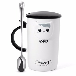 Ceramic Cute Black & White Coffee Cat Mugs with Spoons Perfect Gifts for Friends Teacher Wife