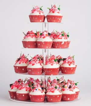 4 tier Clear Round Acrylic Wedding Cupcake Stand
