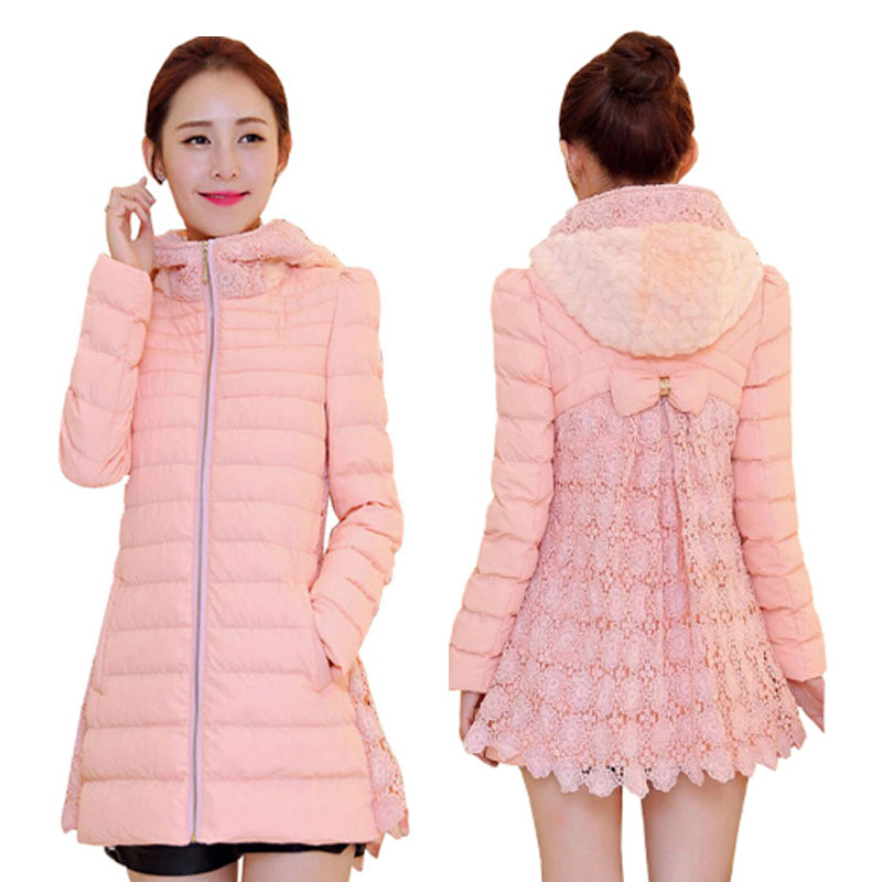 Women's Winter Jacket 2015 New Fashion Lace Patchwork Bow Winter Coat Female Jacket Padded Cotton Hooded Parka Women Outwear