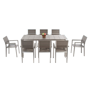 Metal Frame Plastic Wood Table Set Garden Patio Brushed Aluminium Dinning Furnitre Set