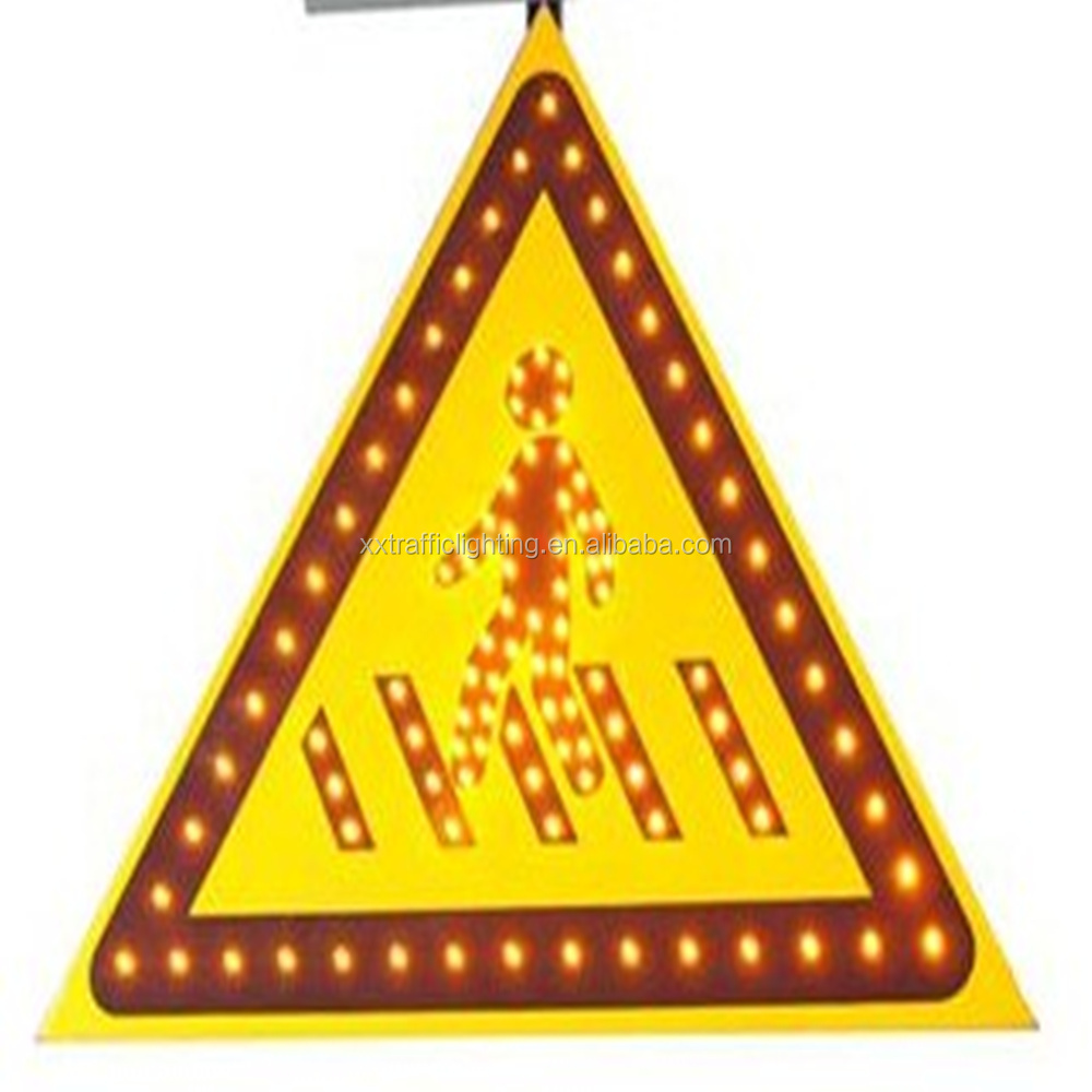 solar power led flashing film triangle traffic warning sign light