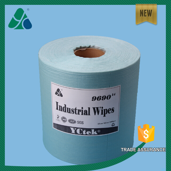 55% Wood pulp 45% Polyester Lint Free Green Nonwoven Cleaning Wipes