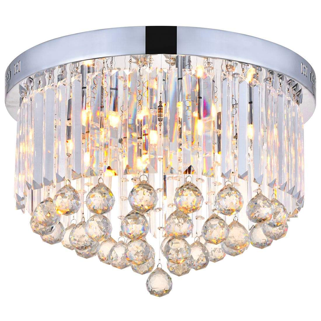 Get Quotations Modern Clear Crystal Raindrop Round Chandelier Lighting Flush Mount Led Ceiling Light Fixture Lamp For Dining
