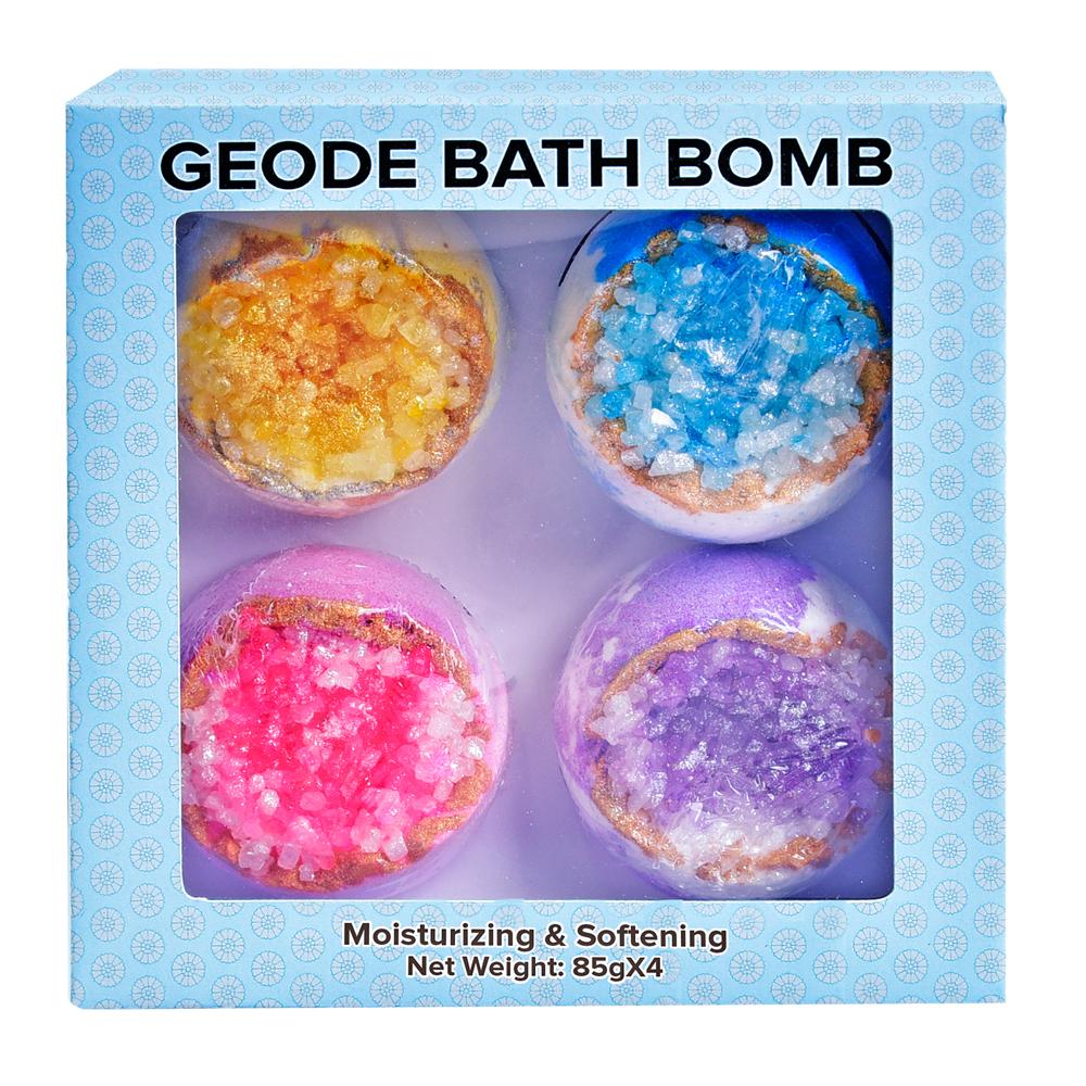 Aqua Blue Crystal Healing Geode Bath Bomb /Bomb Fizzy Powder Blue-Large Fresh Flower Bouquet Scented Bath Fizzy