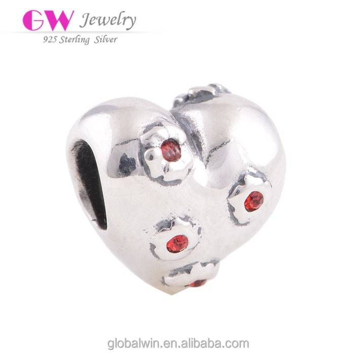 Wholesale Jewelry Supplies China Cz Pave Beads Heart Charms Bulk X134