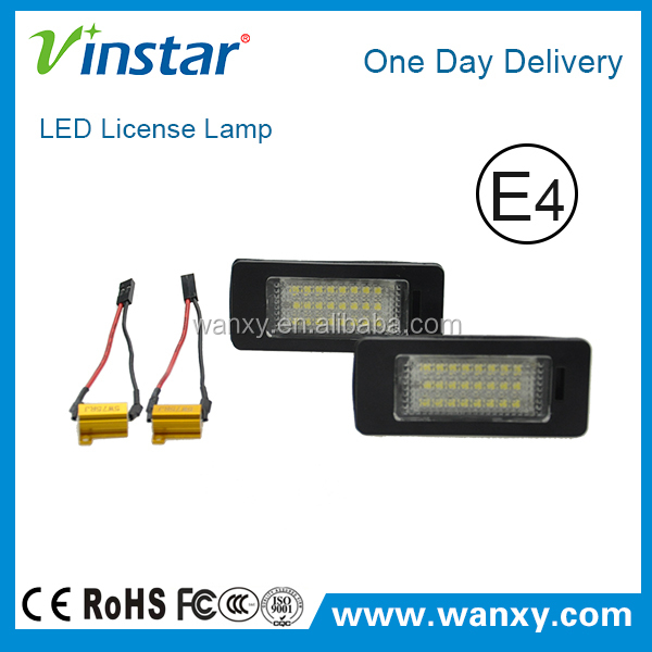 E-mark approved no error canbus led license plate lights for V.W Golf Plus Passat Sharan Golf VI Touran Touareg II Jetta Variant
