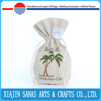 Cotton fabric gift bag draw string linen natural custom logo popular