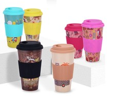 wholesale travel bamboo to go fiber reusable coffee cup custom logo disposable with lid