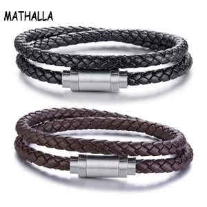 Fashionable Jewelry Mens Genuine Leather Braided Bracelet Bangle Double Layered Rope Wrap Bracelet With Stainless Steel Clasp