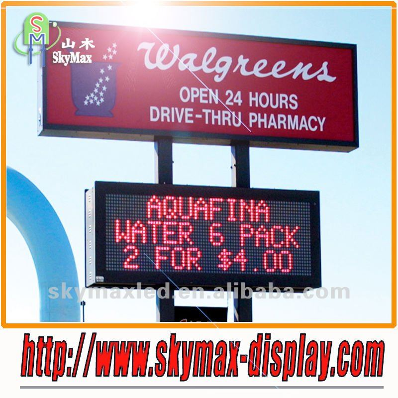 Outdoor led single color sign for display message