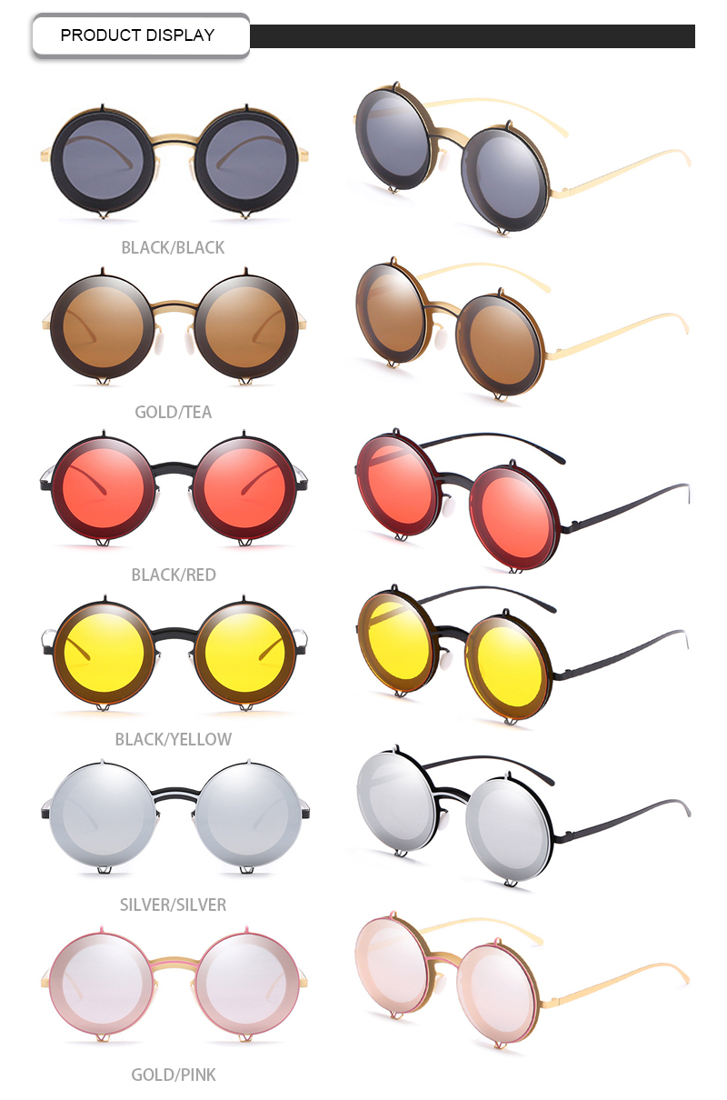 Cool Dazzle Flip Cover Small Round Frame Party Designer Women Sunwear