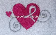 100% cotton BREAST CANCER HEART Embroidery Fingertip Towel