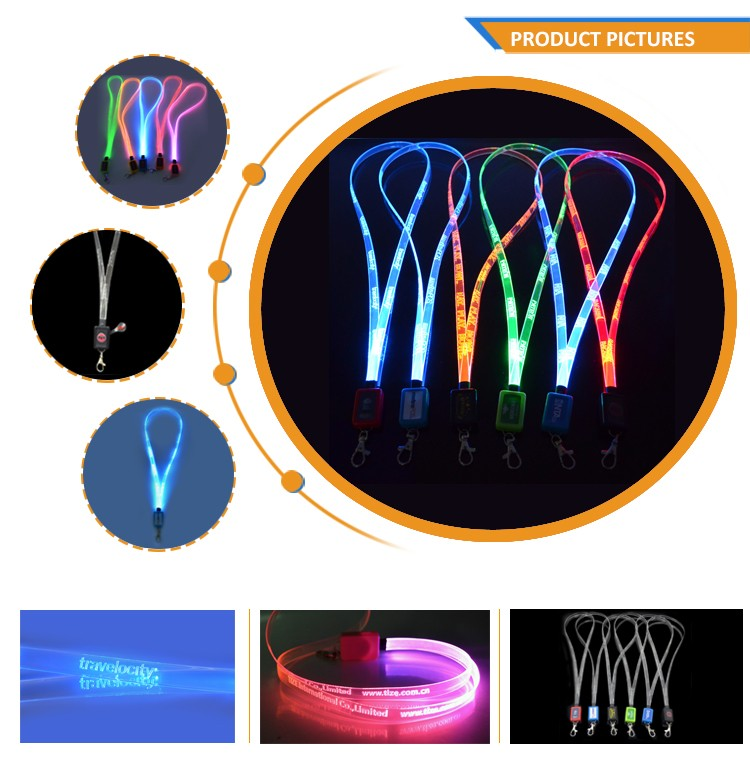 Party Club Sports Events Night Running LED Flashing Neck Strap Band Colorful Card Holder Light Up Lanyard