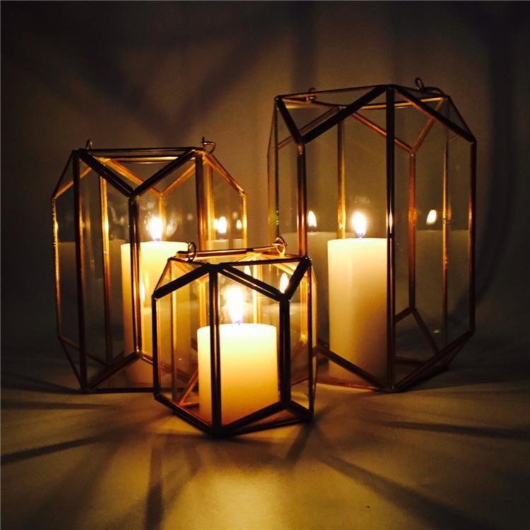 Vintage Copper Portable lantern Geometric Lantern Candle Holder For Wedding Home Decoration