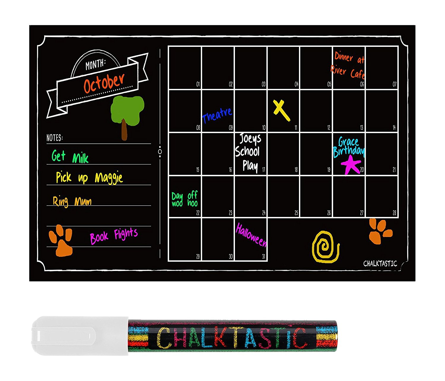 Get Quotations · Chalkboard Wall Calendar   Large Monthly Dry Erase Decal  Wall Calendar   32 X 16in Agenda
