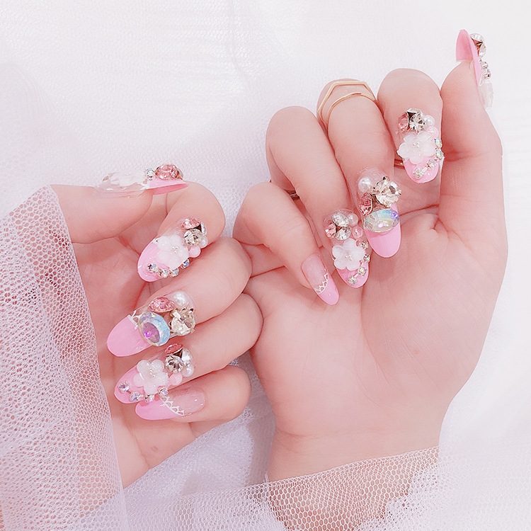 Af10 Artifical Fake Nails Pink Long Pearls And Jewels Press On False ...