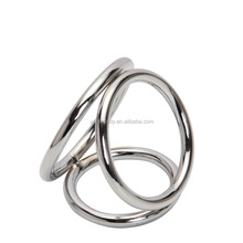 3 Rings Stainless Steel Donut Delay Cock Ring, Penis Ring, Wholesale Sex Toy Adult Products
