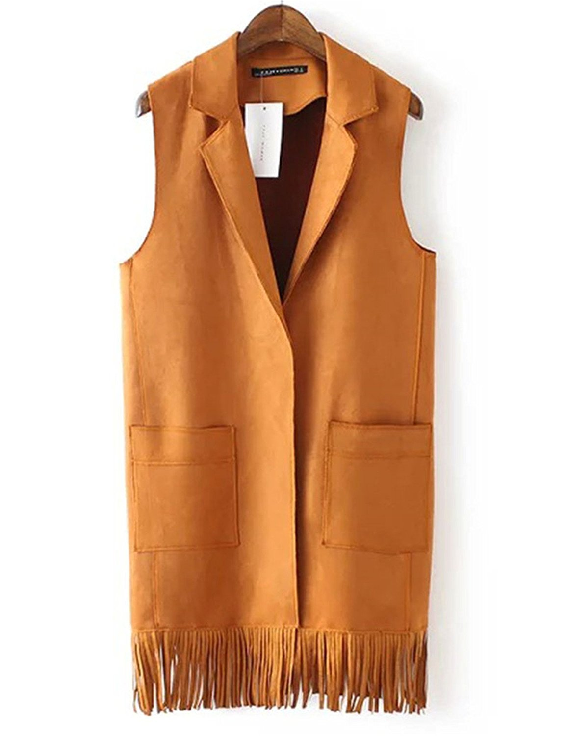 Get Quotations · Hoared Sale Tassels Vest Womens Turn Down Collar Suede  Vests Winter Vest 5f0b69d9d