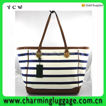 Blue Off White Stripe Tote Bag Purse Cotton With Leather Strip Women ... cace77b5b7