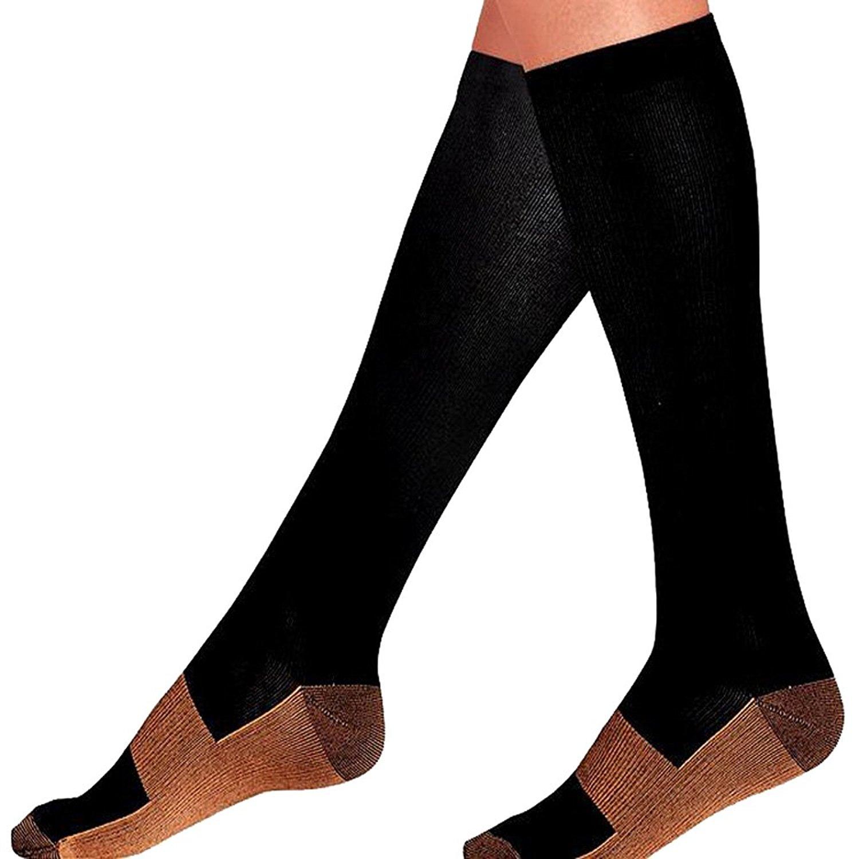 e6c4fdb76 Get Quotations · Urberry 1 Pair Copper Fiber Sports Compression Socks  Anti-fatigue Pressure Socks Anti-venous