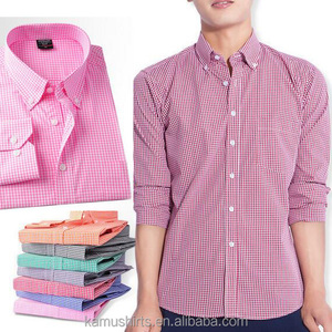 Man gingham button down collar checks shirts mens casual plaids dress casual shirts