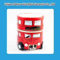 Personalized ceramic creative mug with london bus shape