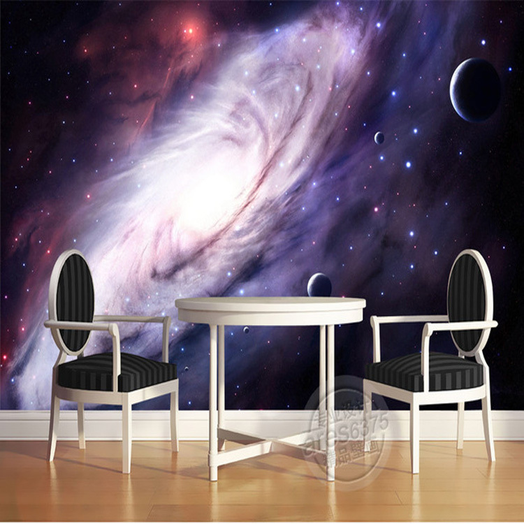 3d Purple Galaxy Wallpaper For Bedroom Charming Wall Mural